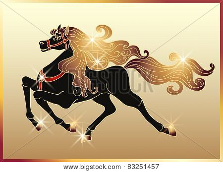 Galloping Horse With A Gold Mane