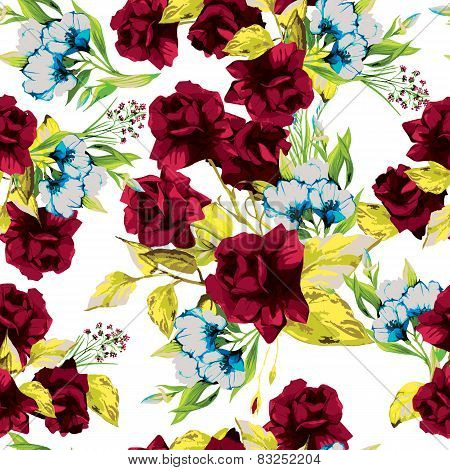Vector Seamless Floral Pattern With Red Roses On White Background