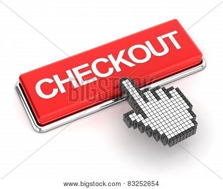 Hand cursor clicking a checkout button, 3d render poster