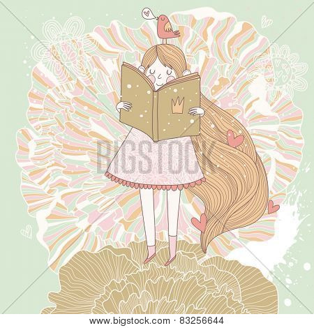 Book reading princess in pastel colors. Vector card with cute girl reading fairy book. Cartoon spring card