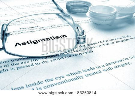 Paper with words astigmatism