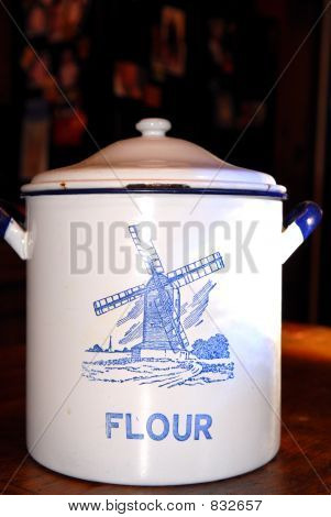 Old Tin Flour Cannister