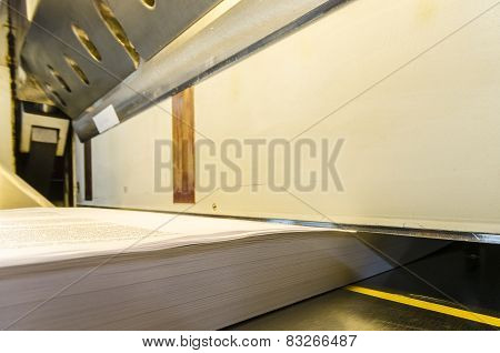 Paper guillotine with touch screen in a print house