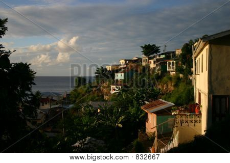 St. Lucia Houses at Sunset
