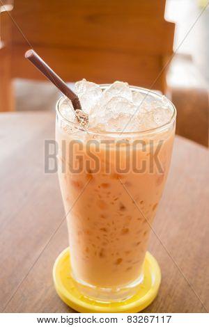 Glass Of Iced Thai Milk Tea