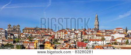Skyline and cityscape of the city of Porto in Portugal, with a view over the iconic Clerigos Tower and the historical districts classified as World Heritage by UNESCO.