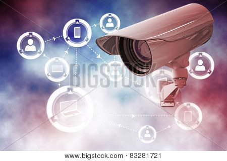 CCTV camera against online community background