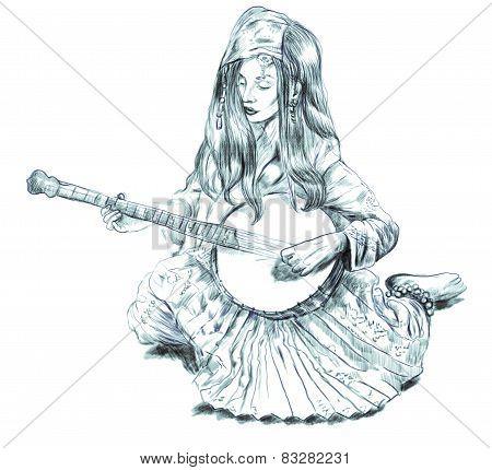 Banjo Player. Freehand Sketch. Full Sized, Orignal.