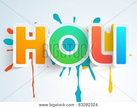 Indian festival of colors celebration with glossy text Holi on splash background, can be used as sticker, tag or label design.