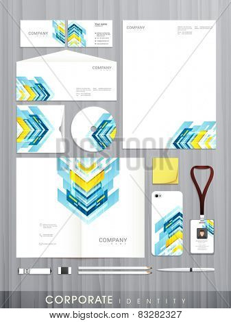 Creative stylish business corporate identity set includes CD Cover, Business Card, Envelope, ID Card, Smartphone and Letterhead.