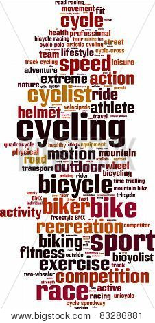 Cycling Word Cloud Concept. Isolated on White poster