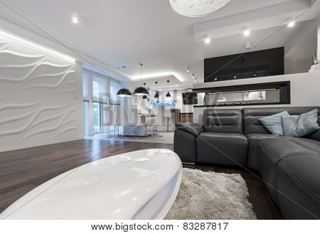 Modern Interior Design Living Room With Kitchen