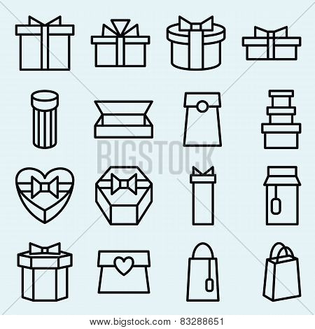Set Of Linear Icons Packaging And Gift Box