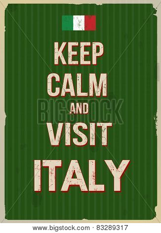 Keep Calm And Visit Italy Retro Poster