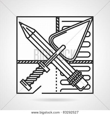 Underfloor heating installing vector icon