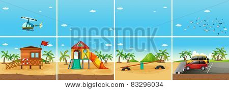 Illustration of a beach scene with playground and carpark