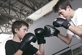 young boy with black boxing gloves fight with is brother poster
