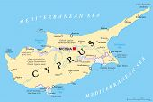 Cyprus Political Map with capital Nicosia, national borders, important cities and rivers. English labeling and scaling. Illustration. poster