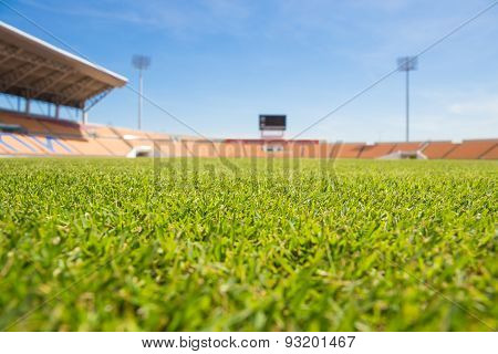 Beautiful Grass Soccer Stadium For Use In Football Match And Athletics