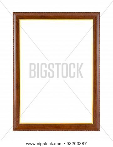 Wood frame isolated on whiteold and ancient