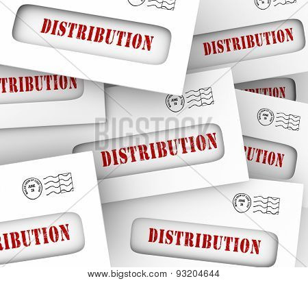 Distribution word in envelpes to illustrate money or information spread or shared through mail, delivery or circulation