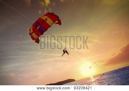 Paragliders At Sunset, Summer Adventure In Malaysia.