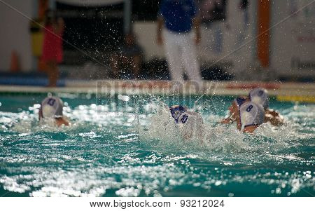 Fragment photo of water sport, man training in the pool. Summer activities