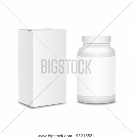 Blank medicine bottle with box realistic isolated on white background vector illustration