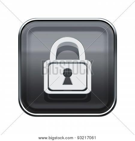Lock Icon Glossy Grey, Isolated On White Background