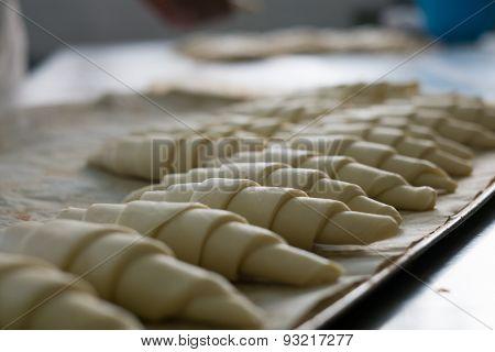 Tray Of Croissants Ready To Bake