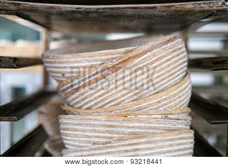 Stack Of Rattan Bakery Bowls