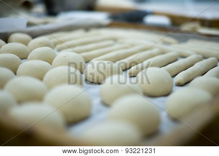 Freshly Made Rolls Dough With Blurred Background