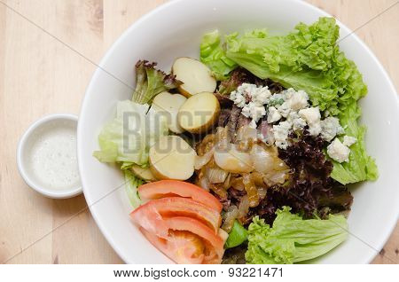 Grilled Beef Salad With Tomato, Potato, Onion