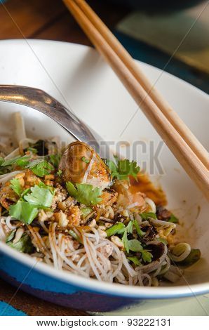 Thai Boat Noodle In A Bowl With Chopsticks
