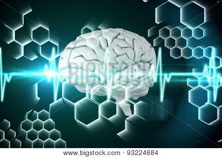 brain against ecg line in black and blue