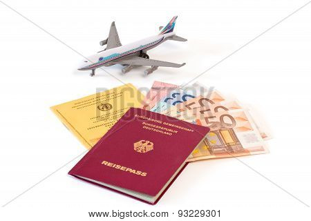 Passport With Money And Vaccination Card