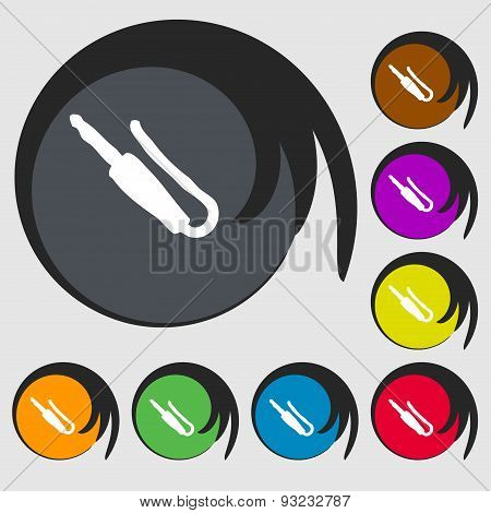Plug, Mini Jack Icon Sign. Symbol On Eight Colored Buttons. Vector