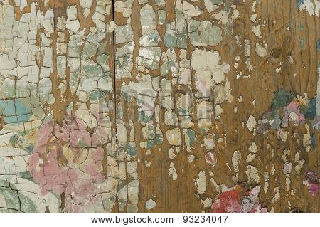 Colorful Cracked Paint On Wooden Surface