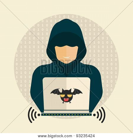 Hacker, wireless network, hacking - isolated flat vector illustration. poster