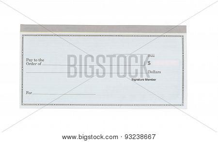 Blank Checkbook On White Desktop