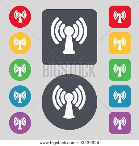 Wi-fi, Internet Icon Sign. A Set Of 12 Colored Buttons. Flat Design. Vector