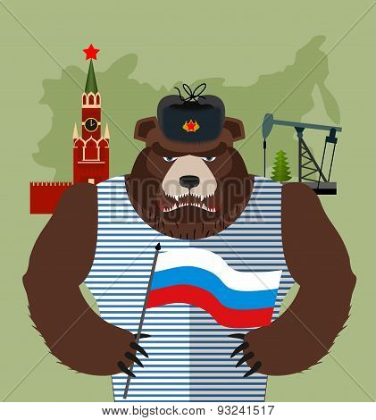 Bear with ear flaps with  flag of Russia. Background of  Moscow Kremlin and oil rigs. Vector illustr