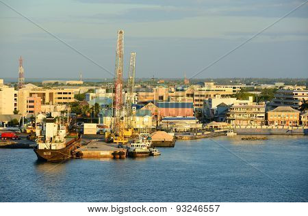 CAYMAN ISLANDS - DEC 30, 2014: Aerial view of Port at George Town in Grand Cayman, Cayman Islands.
