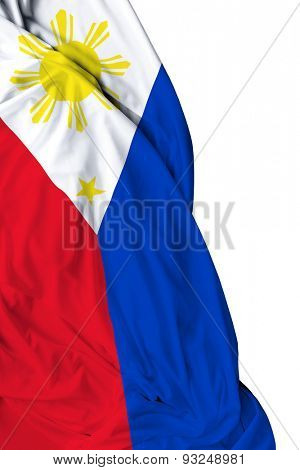 Philippine waving flag on white background