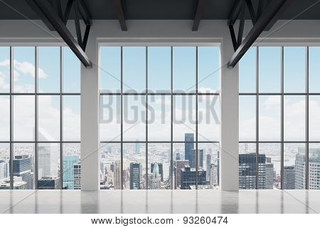 Contemporary office space with New York view. A concept of financial success. poster