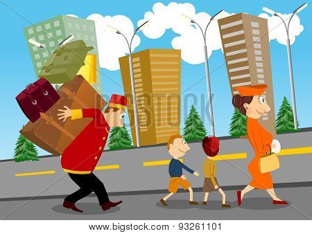 bellhop helping a woman with children to carry luggage on his back poster