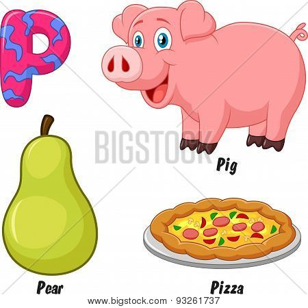 Cartoon P alphabet