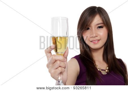 Asian Woman Raise Glass Of Champagne, On White
