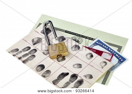Identification Documents With Opened Padlock