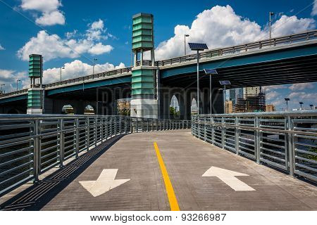 The Schuylkill Banks Boardwalk And South Street Bridge, In Philadelphia, Pennsylvania.